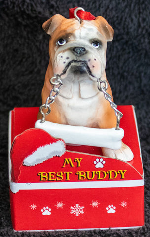 Bulldog Statue Best Buddy Christmas Ornament