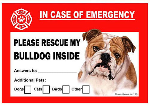 Bulldog Dog Emergency Window Cling