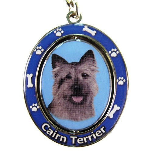 Cairn Terrier Brindle Dog Spinning Keychain