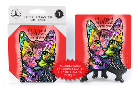 Cat I'd Spend All 9 Lives With You Dean Russo Drink Coaster