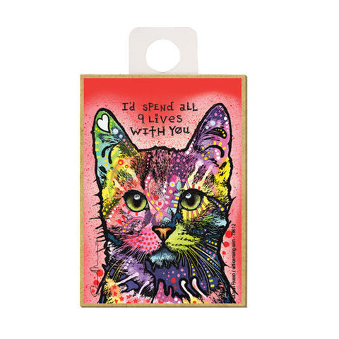 Cat I'd Spend All 9 Lives With You Dean Russo Wood Dog Magnet