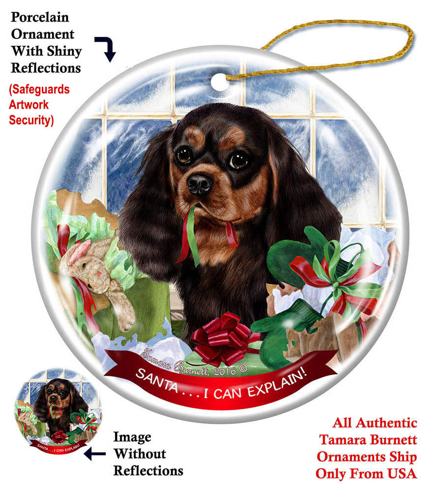 Cavalier King Charles Dog Christmas Holiday Ornament Up To Snow Good