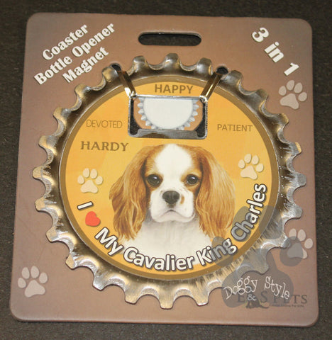 Cavalier King Charles Spaniel Dog Bottle Ninja Stainless Steel Opener Magnet