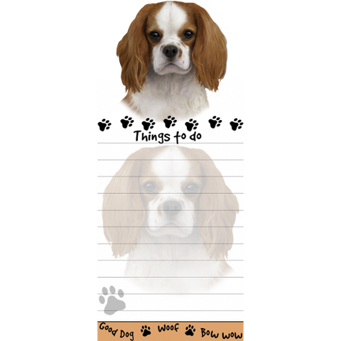 Cavalier King Charle Spaniel List Stationery Notepad
