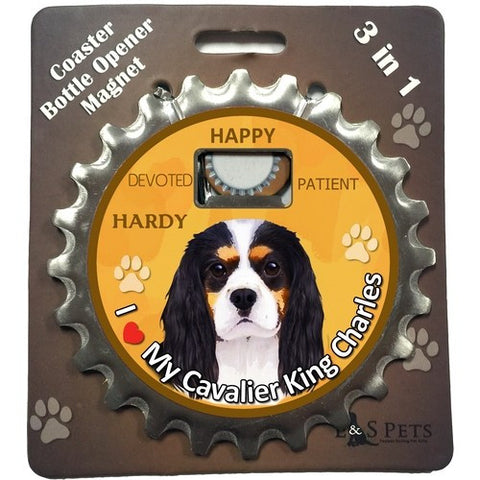 Cavalier King Charles Spaniel Tri Dog Bottle Ninja Stainless Steel Opener Magnet