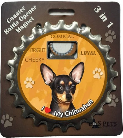 Chihuahua Black Dog Bottle Ninja Stainless Steel Opener Magnet