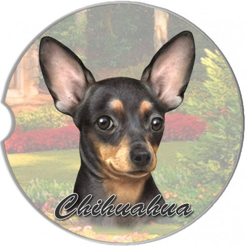 Chihuahua Black Sandstone Absorbent Dog Breed Car Coaster