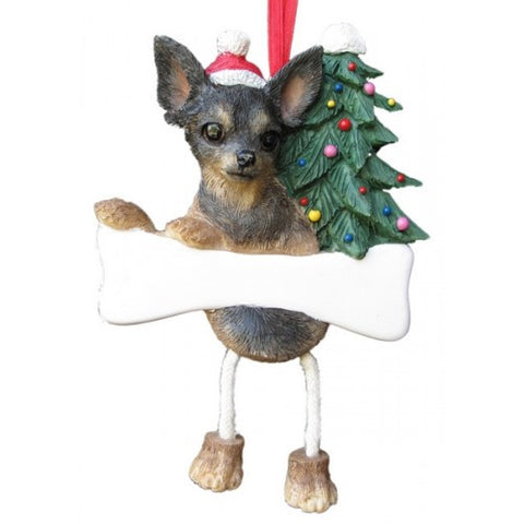 Dangling Leg Chihuahua Black and Tan Christmas Ornament