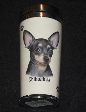 Chihuahua Black Stainless Steel Travel Tumbler