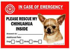 Chihuahua Dog Emergency Window Cling