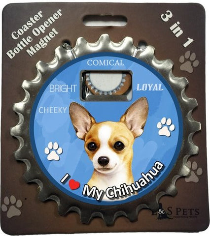 Chihuahua Tan Dog Bottle Ninja Stainless Steel Opener Magnet
