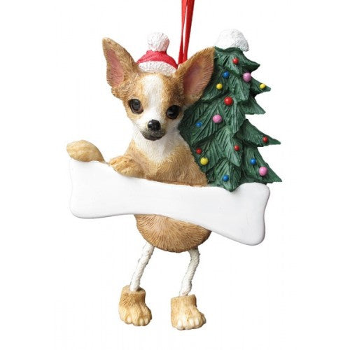 Dangling Leg Chihuahua Tan Fawn Christmas Ornament