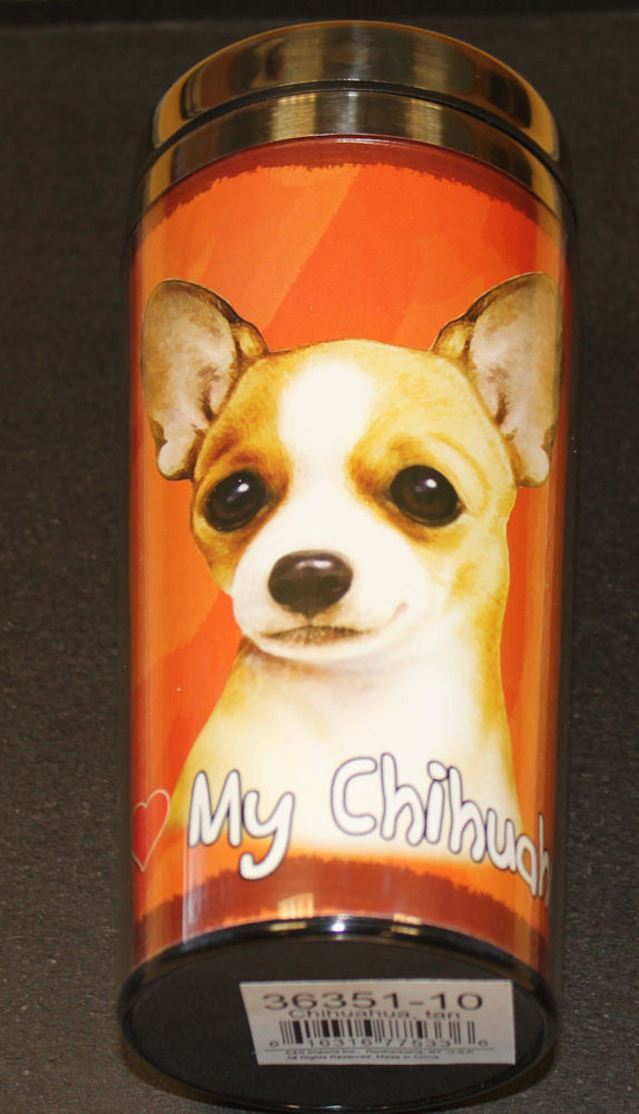 Chihuahua Tan Stainless Steel Travel Tumbler