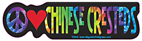 Peace Love Chinese Crested Yippie Hippie Dog Car Sticker