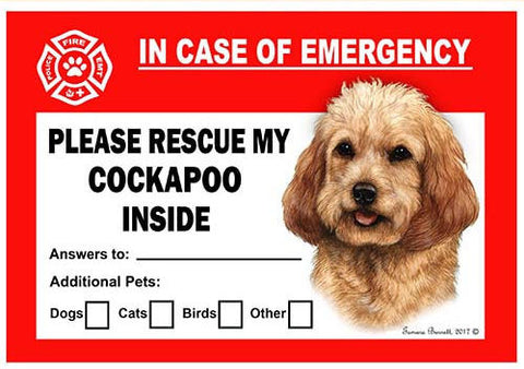 Cockapoo Dog Emergency Window Cling