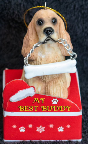 Cocker Spaniel Statue Best Buddy Christmas Ornament