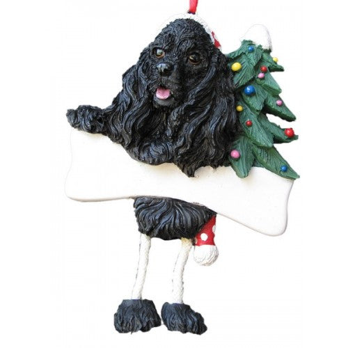 Dangling Leg Cocker Spaniel Black Christmas Ornament