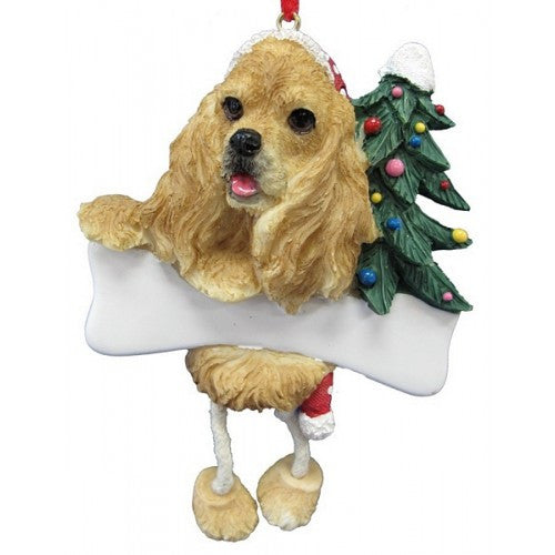 Dangling Leg Cocker Spaniel Blonde Christmas Ornament