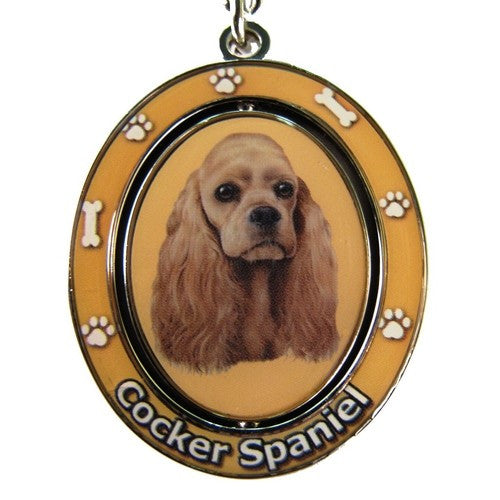 Cocker Spaniel Buff Dog Spinning Keychain