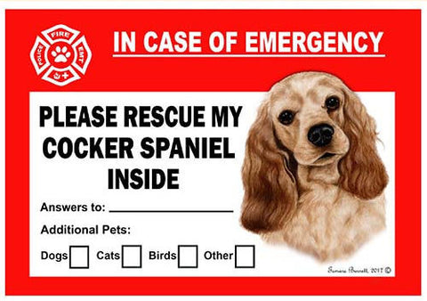Cocker Spaniel Dog Emergency Window Cling