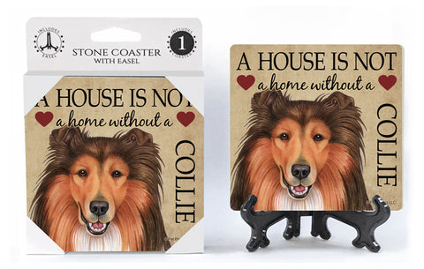 Collie A House Is Not A Home Stone Drink Coaster