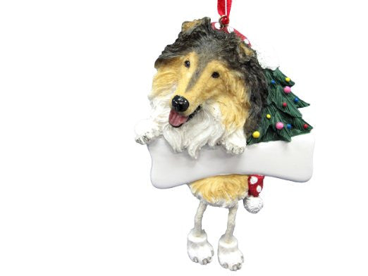 Dangling Leg Collie Christmas Ornament