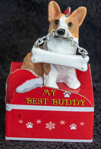 Corgi Statue Best Buddy Christmas Ornament