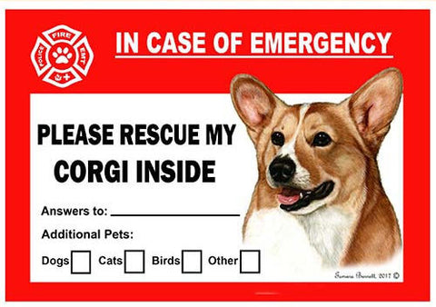 Corgi Dog Emergency Window Cling