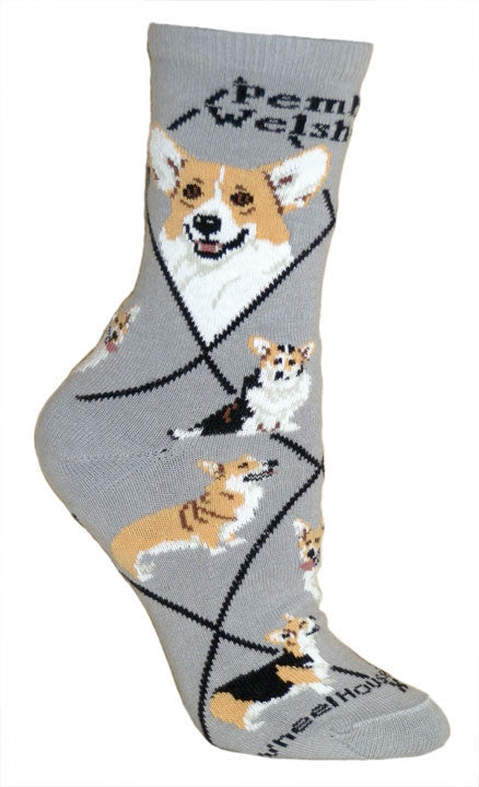 Corgi Pembroke Dog Breed Gray Lightweight Stretch Cotton Adult Novelty Socks