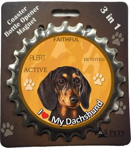 Dachshund Black Dog Bottle Ninja Stainless Steel Opener Magnet