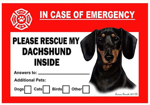 Dachshund Black Dog Emergency Window Cling