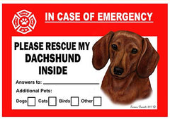 Dachshund Red Dog Emergency Window Cling