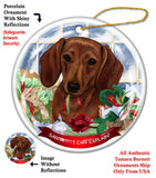 Dachshund Red Howliday Dog Christmas Ornament