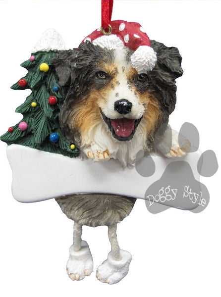 Dangling Leg Australian Shepherd Christmas Ornament