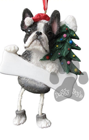 Dangling Leg Boston Terrier Christmas Ornament