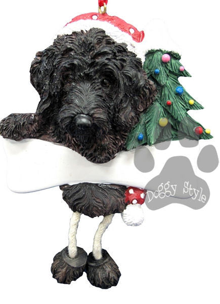 Dangling Leg Black Labradoodle Christmas Ornament