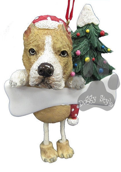 Dangling Leg Brindle Pit Bull Christmas Ornament