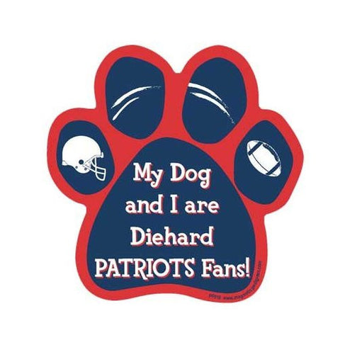 My Dog And I Are Diehard Patriots Fans Football Paw Magnet
