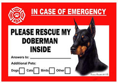 Doberman Pinscher Dog Emergency Window Cling