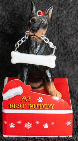 Doberman Pinscher Statue Best Buddy Christmas Ornament