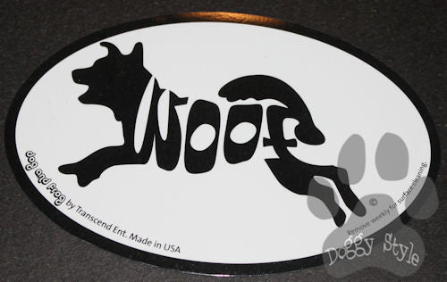 Euro Style Woof Dog Breed Magnet