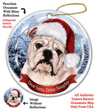 English Bulldog White Howliday Dog Christmas Ornament