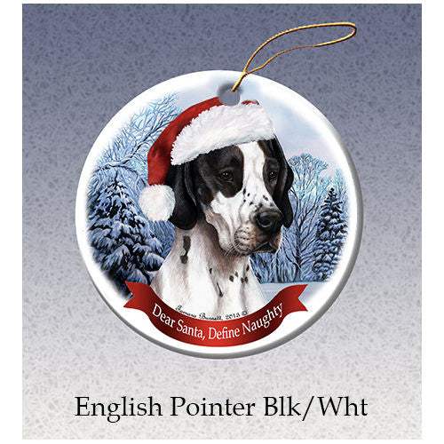 English Pointer Black Howliday Dog Christmas Ornament