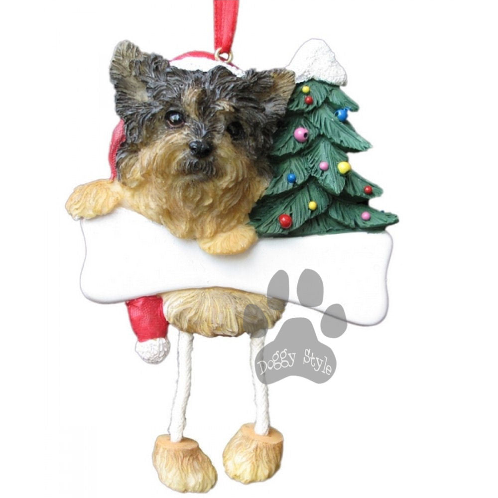 Dangling Leg Yorkie Yorkshire Terrier Puppy Dog Christmas Ornament