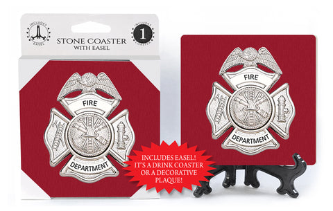 Fire Department Badge Stone Drink Coaster