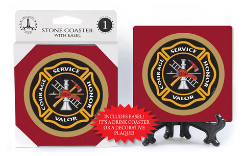 Fire Department Crest Stone Drink Coaster
