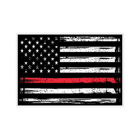 Thin Red Line US American Flag Support Firefighters Stressed Vinyl Car Sticker