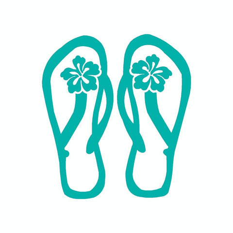 Flip Flop Hibiscus Vinyl Car Sticker