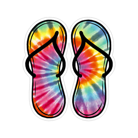 Flip Flop Tie Dye Vinyl Car Sticker
