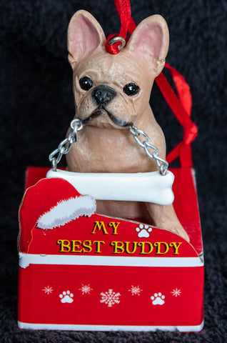 French Bulldog Statue Best Buddy Christmas Ornament